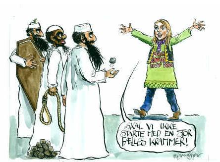 En ny tone med åbenhed hvor alle kan være med er det der skal til overfor det voksende salafist-milijø der ønsker homostening, tegnerdrab, og soldaterdød mener den nye social og integrationsminister. Tegning: Rasmus Sand Høyer