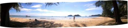 Et panoramashot fra en strand på Koh Mak, Thailand - nice, yez?