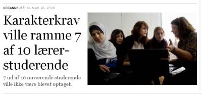 """De nye krav er: """"Mindst 7 i gennemsnit"""". Kun 3 af 10 ud af de lærerstuderende har mindst 7 i snit. Deprimerende..."""