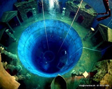 20 meter dyb. 4-5 meter til den grønne afsats rundt om hullet. 18 meter til den runde ring nederst og 2 m mere til bunden.