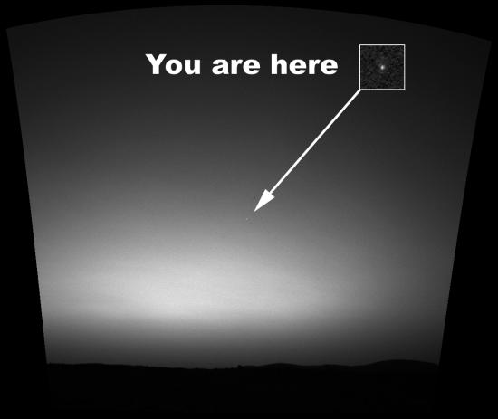 Jorden set fra Mars