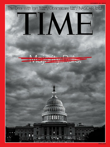 Der er faktisk et flertal af politikerne, demokrater + enkelte republikanere, der ville stemme for, at ende krisen; men rep'erne har besluttet, at de altid stemmer sammen og Teaparty-tosserne siger som sagt Nej.